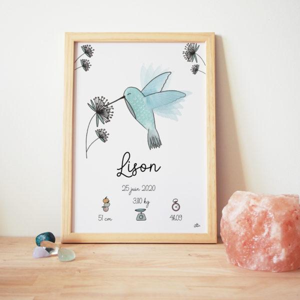 Cadre naissance colibri tableau bébé prénom personnalisé bleu oiseau