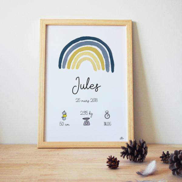 Affiche naissance personnalisée arc-en-ciel jaune et bleu garçon cadeau naissance original