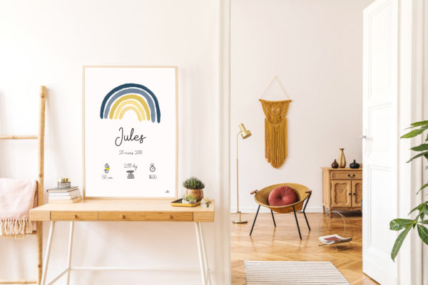 Affiche naissance arc-en-ciel jaune et bleu