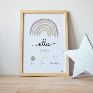 Affiche naissance arc-en-ciel signe astrologique zodiaque beige bois paillettes déco nude neutre signe constellation planète élément