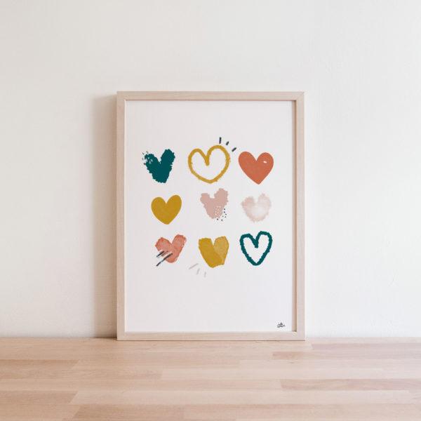 Affiche coeurs graphiques abstrait Déco Automne Terracotta vert forêt emeraude jaue moutarde rose blush - Idée déco salon bohème boho