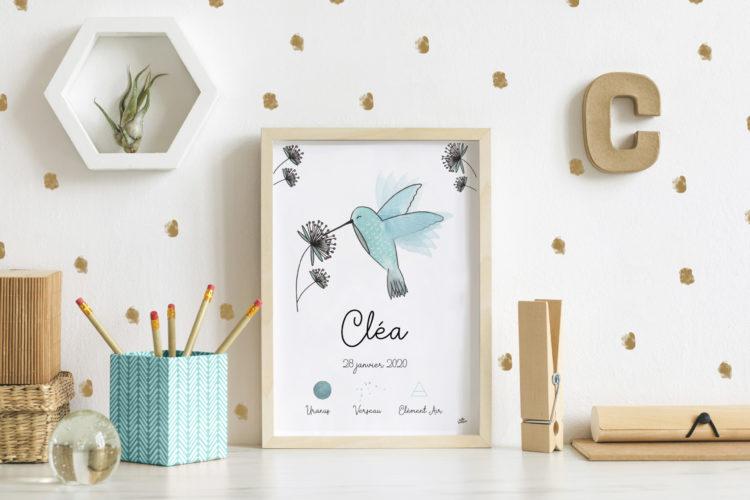 Affiche naissance colibri signe astrologique zodiaque personnalisée illustration aquarelle faire-part idée cadeau original bébé maman