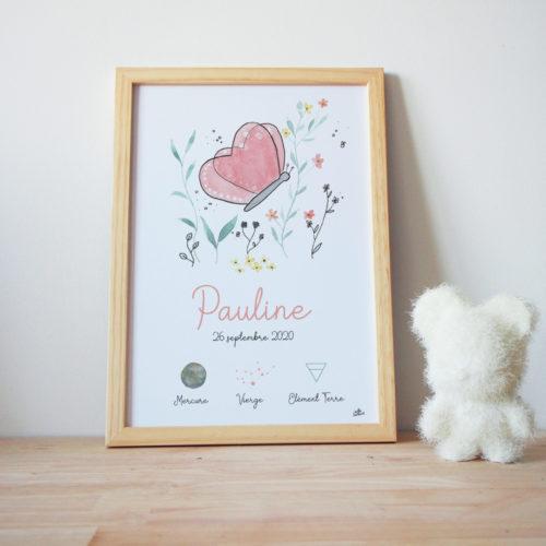Affiche naissance personnalisée astrologique bébé cadeau original papillon aquarelle
