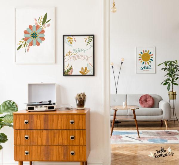 Home decor mur de cadre original couleurs chaudes moutarde caramel terracotta ambiance cocooning