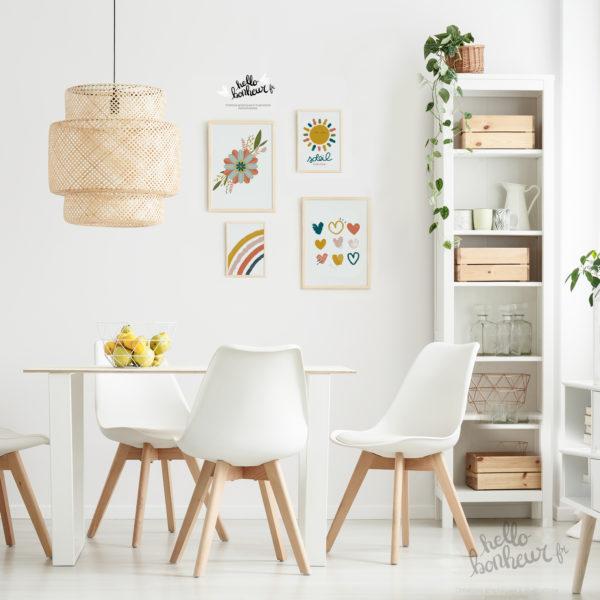 Affiche Arc-en-ciel Déco Automne Terracotta vert forêt emeraude jaue moutarde rose blush - Idée déco salon bohème boho