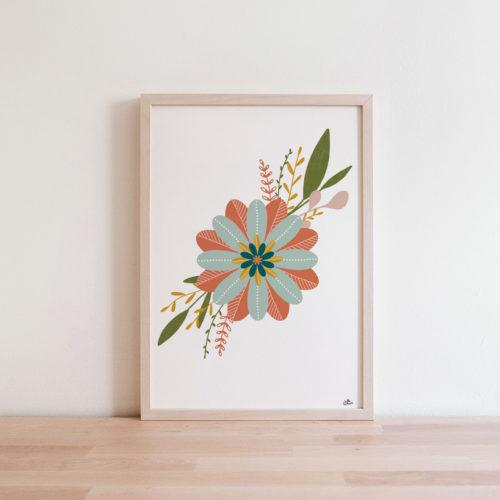Affichefleurs graphique abstrait Déco Automne Terracotta vert forêt emeraude jaue moutarde rose blush - Idée déco salon bohème boho