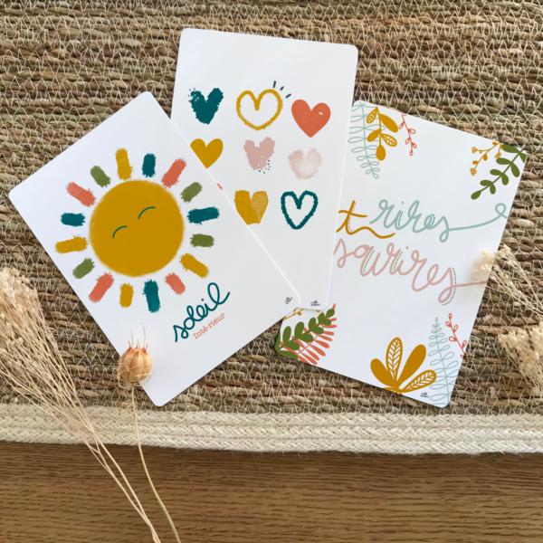 3 cartes postales positive collection automne 2020 - couleurs nature terracotta - rires et sourires coeurs - soleil