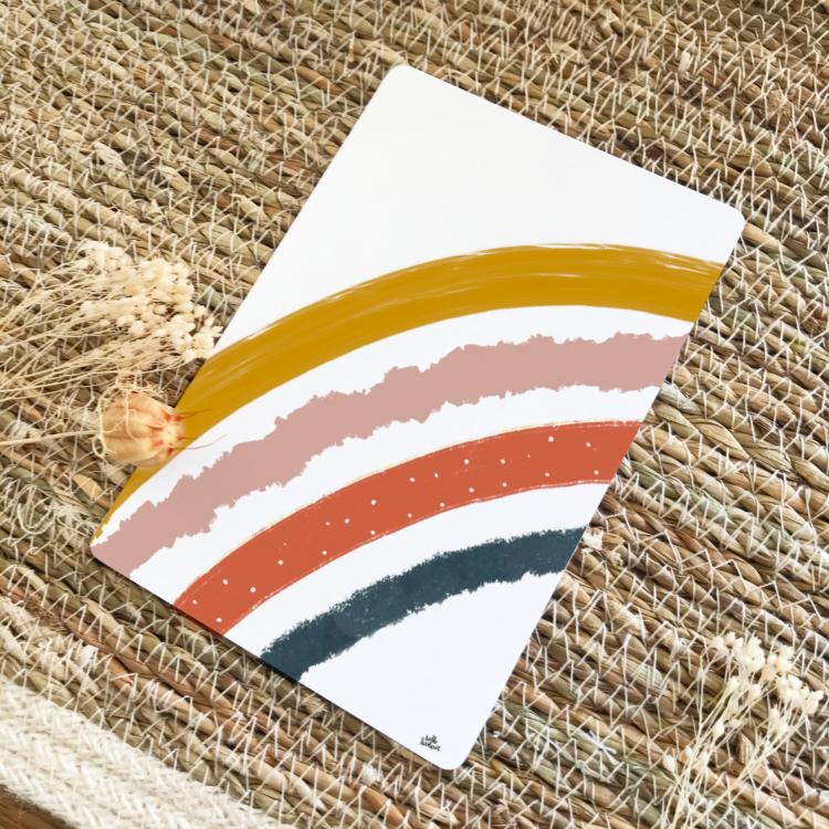 Carte postale positive arc-en-ciel thème automne terracotta moutarde bleu nuit