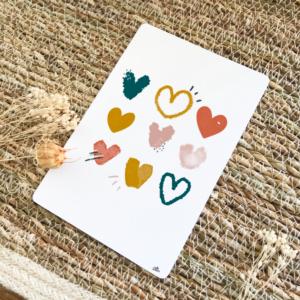 Carte postale positive coeurs amour thème automne terracotta moutarde bleu nuit