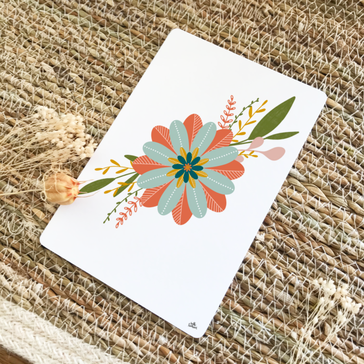 Carte postale positive fleur thème automne terracotta moutarde bleu nuit