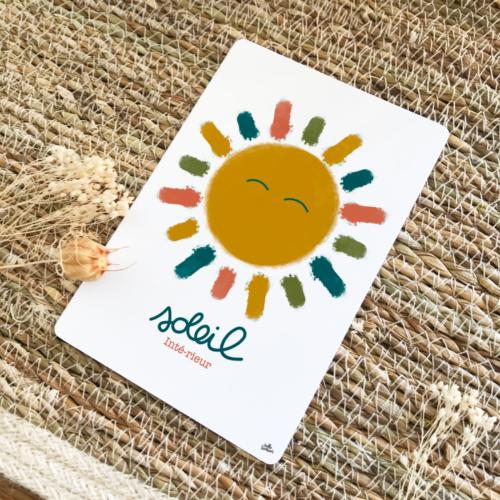carte postale positive soleil intérieur - couleurs chaudes terracotta vert moutarde bleu pétrole