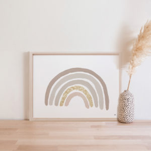Affiche Arc-en-ciel aquarelle bois nude paillettes naturel beige taupe mur de cadres