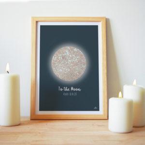 affiche lune paillette déco bohème
