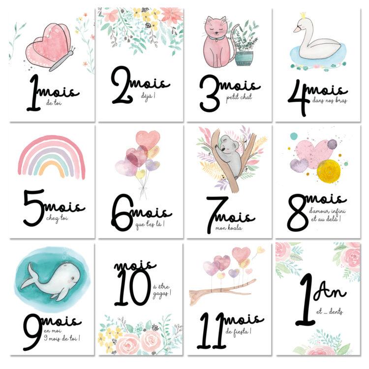 Cartes étapes bébé première année naissance aquarelle pastel hello bonheur