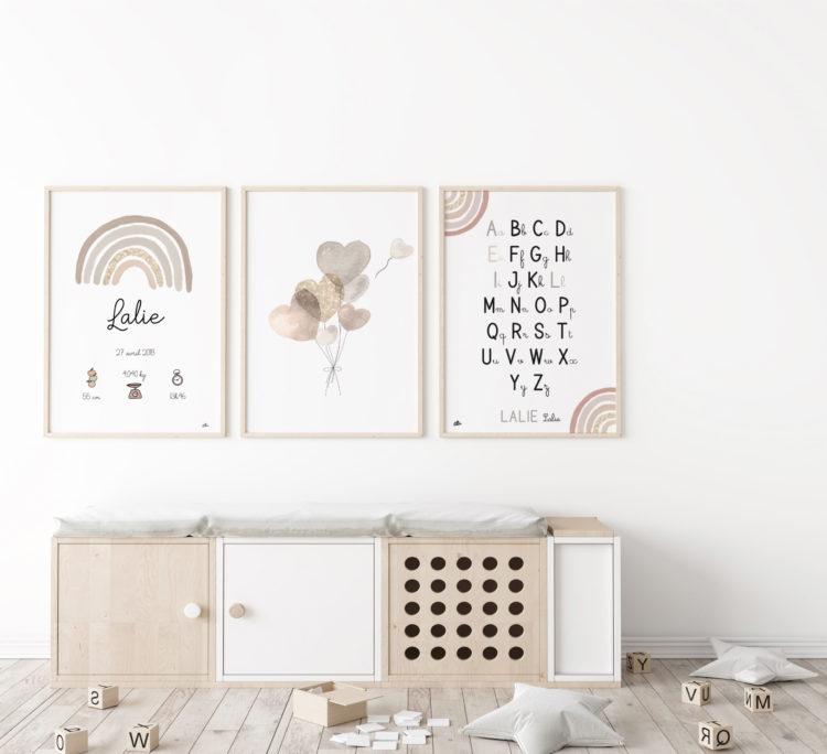trio d'affiches chambre