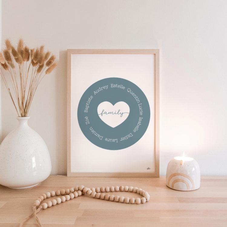 cadre famille personnalisé prénom - décoration bohème simple épurée scandinave vintage bois nature - idée cadeau f^ète des grands-mères cadeau mami