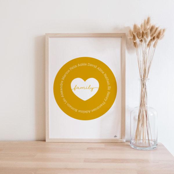cadre famille personnalisé prénom - décoration bohème simple épurée scandinave vintage bois nature - idée cadeau f^ète des grands-mères cadeau mamie