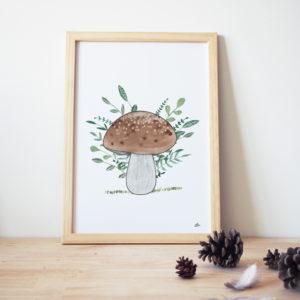 cadre décoration chambre enfant thème forêt couleur vert beige marron champignon peinture aquarelle
