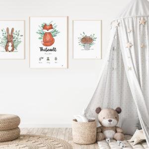 Déco de chambre bébé tendance nature - bohème - Thème Forêt illustrations aquarelle toute douces