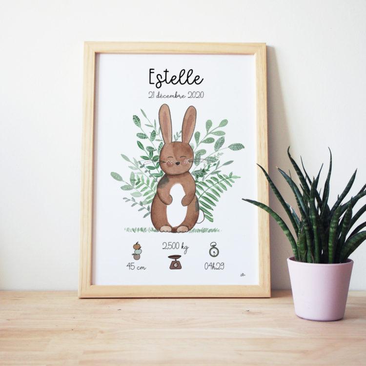 Affiche naissance personnalisée bébé apin aquarelle - idée cadeau de naissance original déco chambre bébé thème forêt