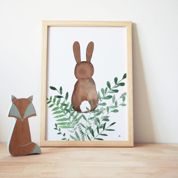 Affiche lapin de dos à marier avec l'affiche lapin de face - illustration aquarelle - illustratrice nantaise -
