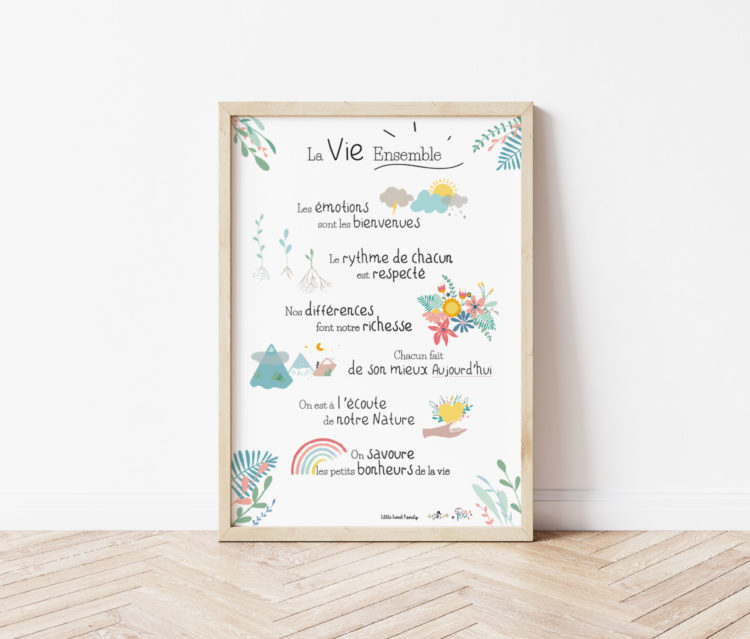 Affiche Vivre ensemble Coloris pastel - Affiche éducation bienveillante