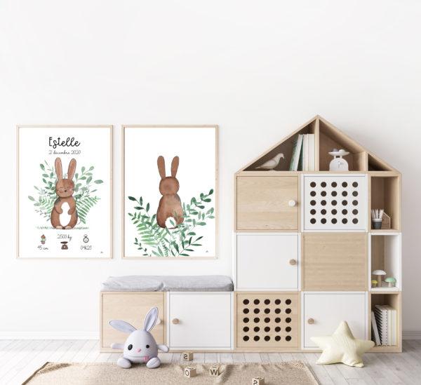 duo affiches aquarelle lapin