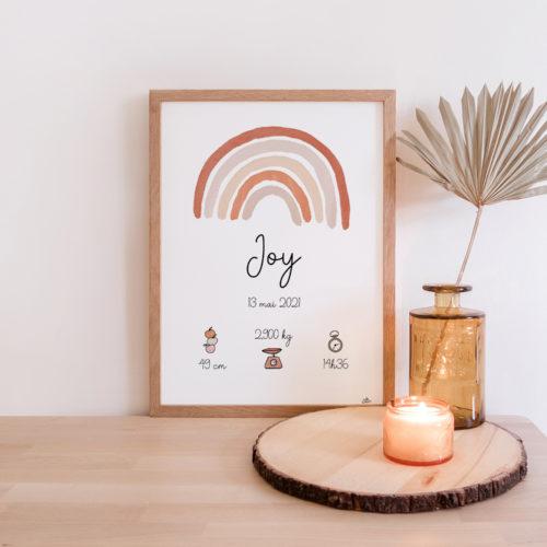 Idée cadeau de naissance personnalisé - Affiche Aquarelle Arc-en-ciel Prénom date poids taille heure terracotta nude