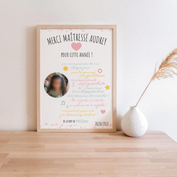 cadeau maitresse personnalisé photo enfant - affiche texte maitresse citation
