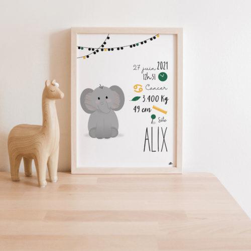 affiche naissance éléphant mignon